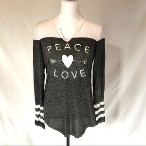 NWT Black Gray White Slub Love Peace Heart T Shirt